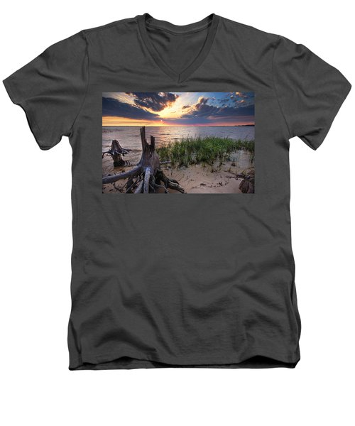 Stumps And Sunset On Oyster Bay Men's V-Neck T-Shirt by Michael Thomas