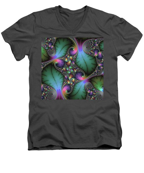 Men's V-Neck T-Shirt featuring the digital art Stunning Mandelbrot Fractal by Matthias Hauser