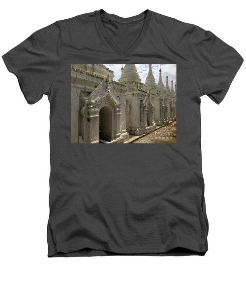 Men's V-Neck T-Shirt featuring the photograph Stupas With Buddhist Inscription Slabs Sandamuni Pagoda Mandalay Burma by Ralph A  Ledergerber-Photography