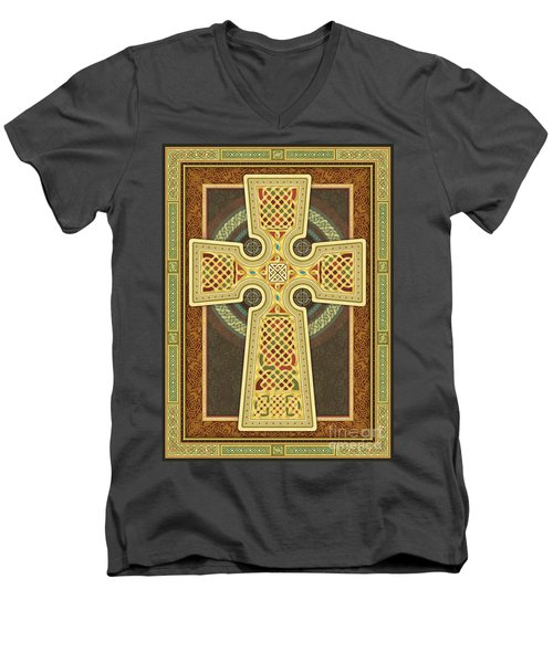 Stylized Celtic Cross Men's V-Neck T-Shirt