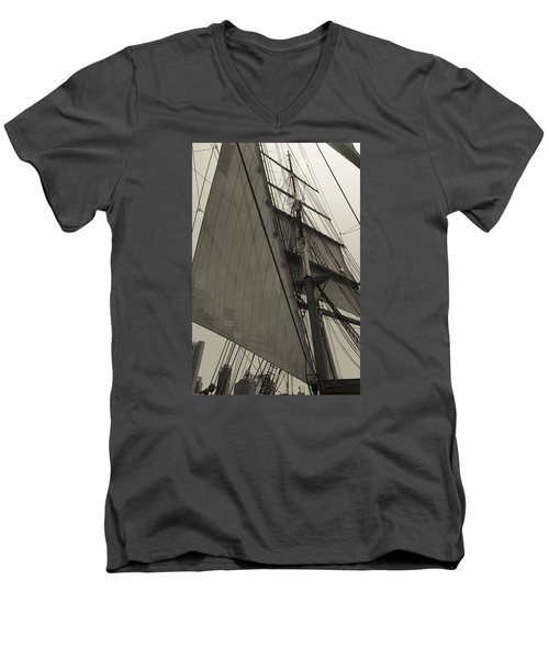 Suare And Triangle Black And White Sepia Men's V-Neck T-Shirt