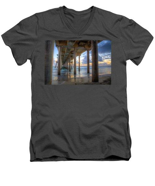 Subtle Pier Sunset Men's V-Neck T-Shirt