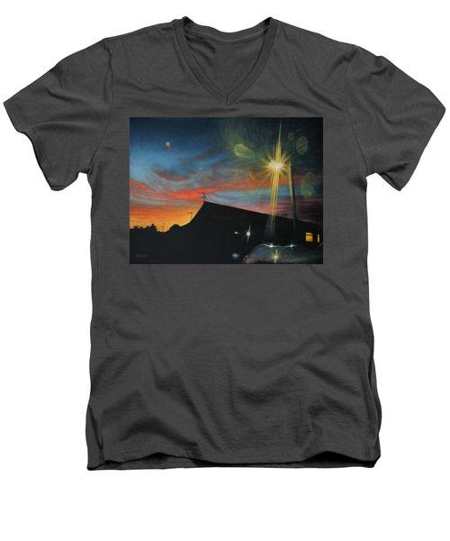 Suburban Sunset Oil On Canvas Men's V-Neck T-Shirt