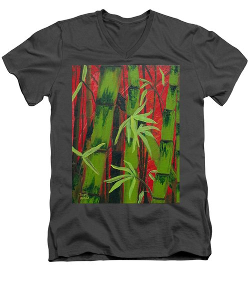 Sultry Bamboo Forest Acrylic Painting Men's V-Neck T-Shirt