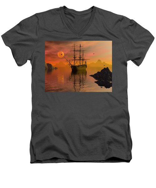 Summer Anchorage Men's V-Neck T-Shirt by Claude McCoy