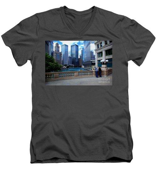 Summer Breeze On The Chicago River - Color Men's V-Neck T-Shirt