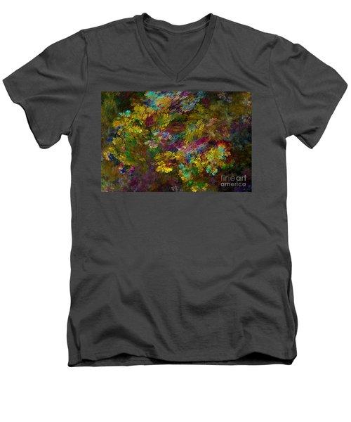 Men's V-Neck T-Shirt featuring the digital art Summer Burst by Olga Hamilton