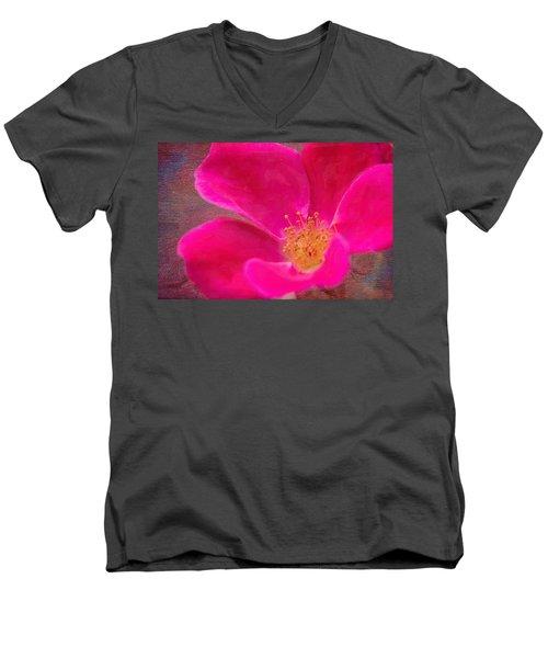 Summer Delight My Pink Rose Men's V-Neck T-Shirt by Denyse Duhaime