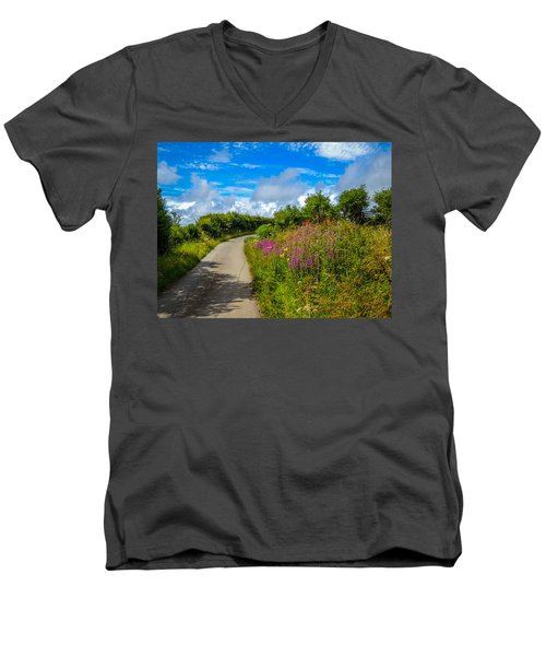 Summer Flowers On Irish Country Road Men's V-Neck T-Shirt