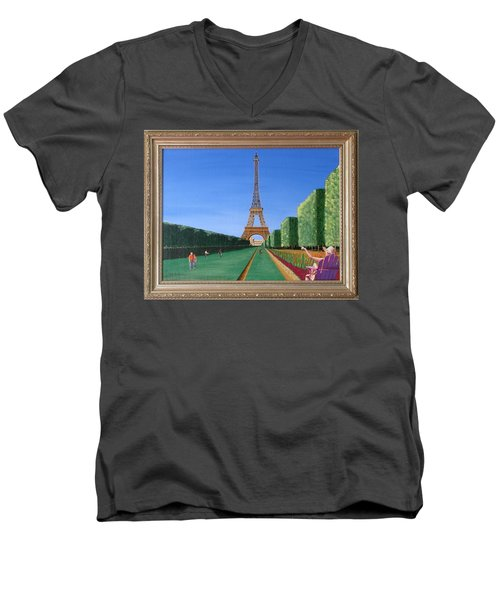 Men's V-Neck T-Shirt featuring the painting Summer In Paris by Ron Davidson