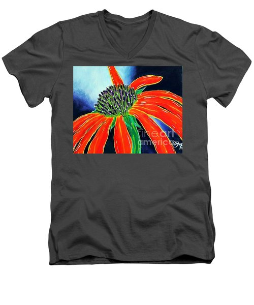 Men's V-Neck T-Shirt featuring the painting Summer Kissed Cone Flower by Jackie Carpenter