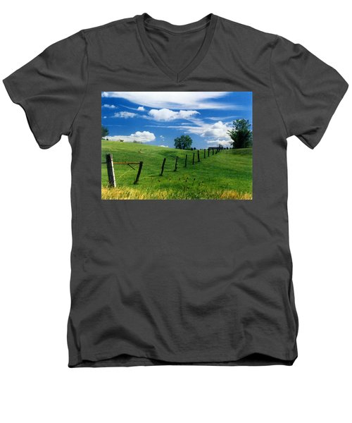 Men's V-Neck T-Shirt featuring the photograph Summer Landscape by Steve Karol