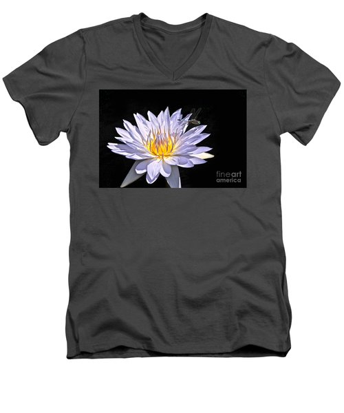 Summer Magic -- Dragonfly On Waterlily On Black Men's V-Neck T-Shirt