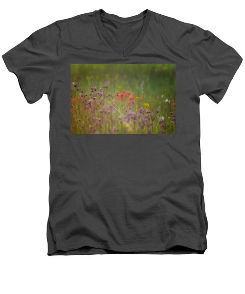 Men's V-Neck T-Shirt featuring the photograph Summer Meadow by Ellen Heaverlo