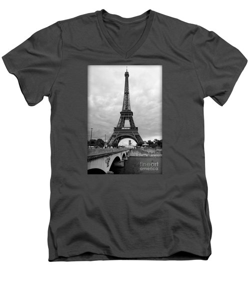 Summer Storm Over The Eiffel Tower Men's V-Neck T-Shirt