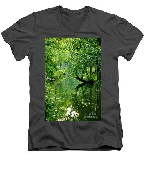 Summer Stream Men's V-Neck T-Shirt by Melissa Petrey
