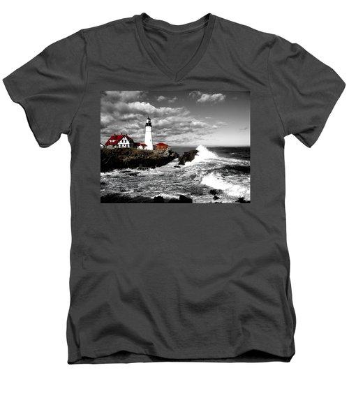 Summer Waves Red Stroke Bw Men's V-Neck T-Shirt