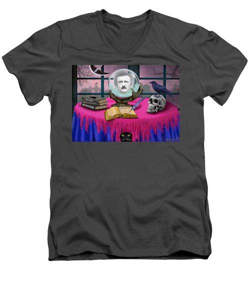 Summoning Edgar Allan Poe Men's V-Neck T-Shirt by Glenn Holbrook