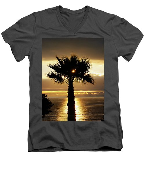 Sun And Palm And Sea Men's V-Neck T-Shirt by Joe Schofield