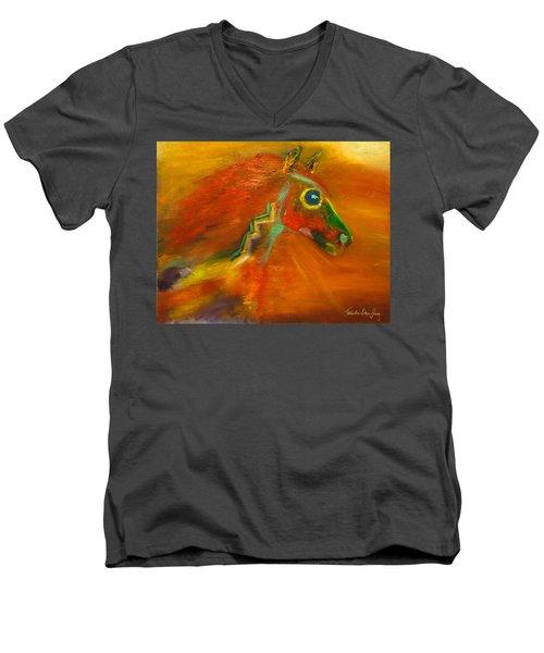 Men's V-Neck T-Shirt featuring the painting Sun Dance by Barbie Batson