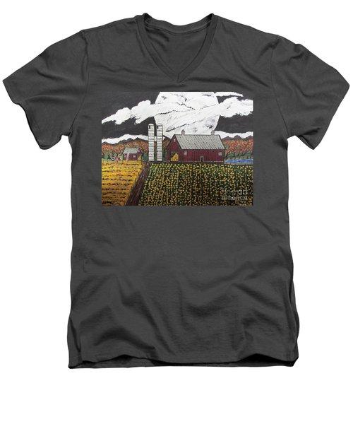 Sun Flower Farm Men's V-Neck T-Shirt by Jeffrey Koss