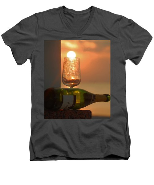 Men's V-Neck T-Shirt featuring the photograph Sun In Glass by Leticia Latocki
