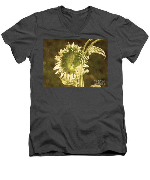 Men's V-Neck T-Shirt featuring the photograph Sun-lite Sunflowwer by Donna Brown