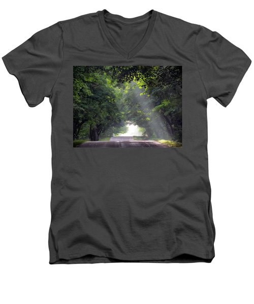 Sun Rays On Waters End Road Men's V-Neck T-Shirt by David T Wilkinson
