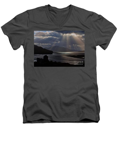 Sun Rays Over Eilean Donan Castle Men's V-Neck T-Shirt