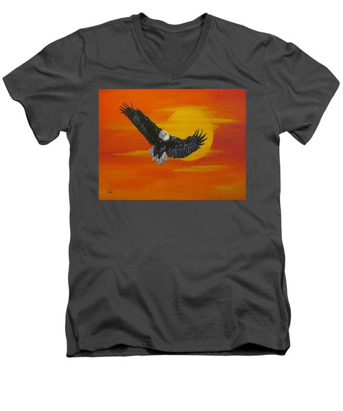 Men's V-Neck T-Shirt featuring the painting Sun Riser by Wendy Shoults