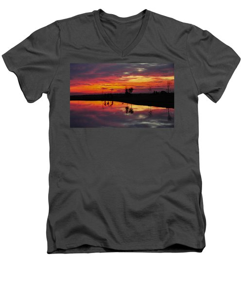 Sun Set At Cowen Creek Men's V-Neck T-Shirt