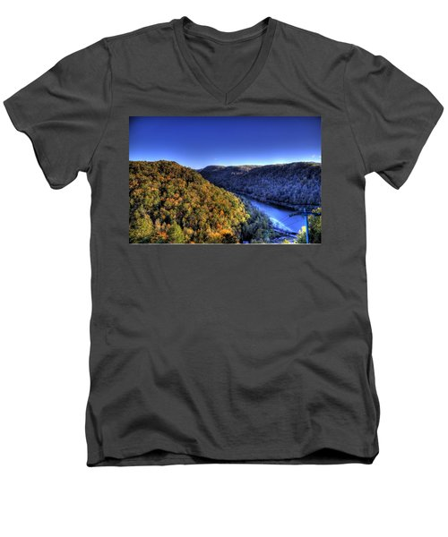 Men's V-Neck T-Shirt featuring the photograph Sun Setting On Fall Hills by Jonny D