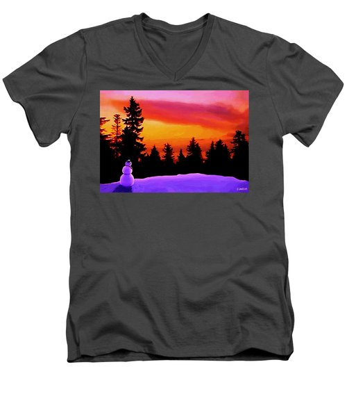 Sun Setting On Snow Men's V-Neck T-Shirt by Sophia Schmierer