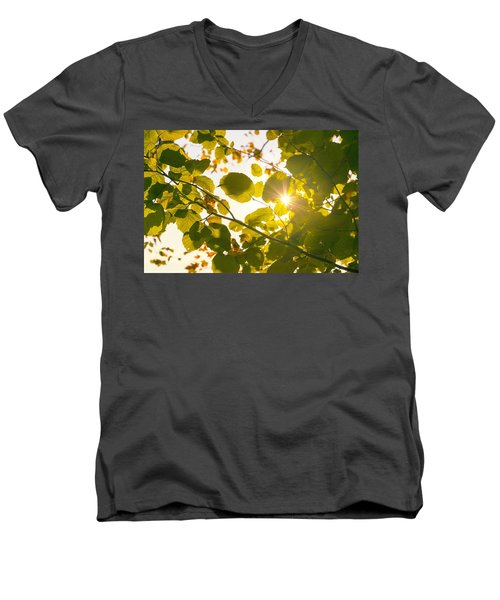 Men's V-Neck T-Shirt featuring the photograph Sun Shining Through Leaves by Chevy Fleet