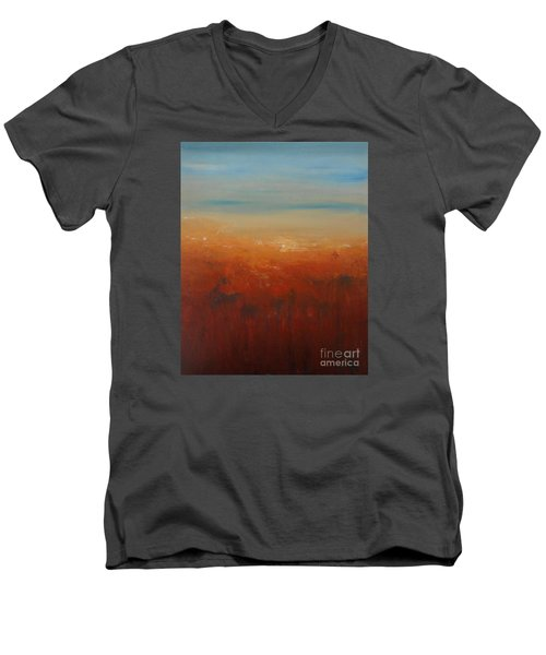 Men's V-Neck T-Shirt featuring the painting Sunburnt Country by Jane  See