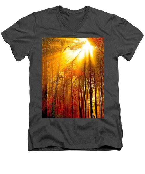 Sunburst In The Forest Men's V-Neck T-Shirt