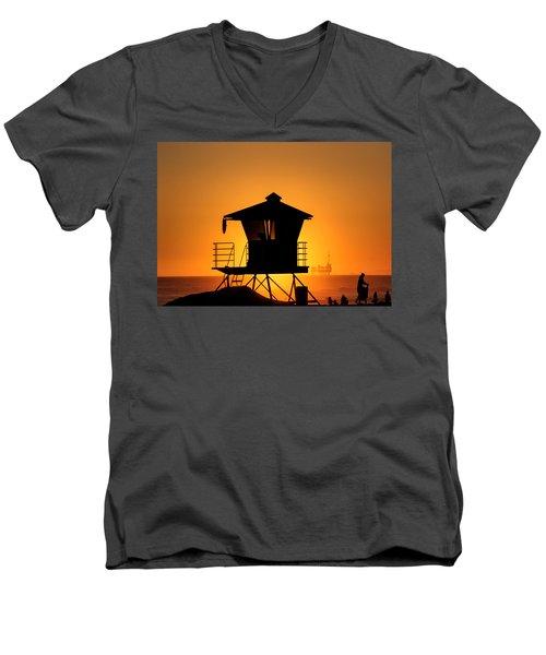 Sunburst Men's V-Neck T-Shirt by Tammy Espino