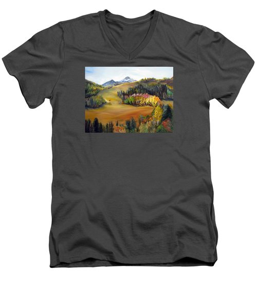 Sundance And Mt. Timpanogos Men's V-Neck T-Shirt by LaVonne Hand