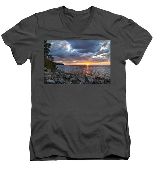 Sundown Bay Men's V-Neck T-Shirt by Bill Pevlor