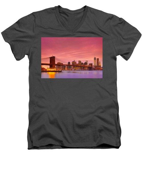 Sundown City Men's V-Neck T-Shirt by Midori Chan