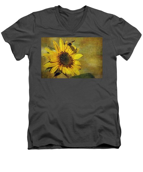 Sunflower And Bumble Bee Men's V-Neck T-Shirt