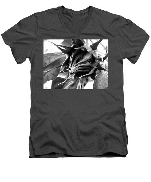 Men's V-Neck T-Shirt featuring the photograph Sunflower Beginning by Sandi OReilly