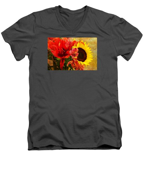 Sunflower Bouquet Men's V-Neck T-Shirt by Sandi OReilly