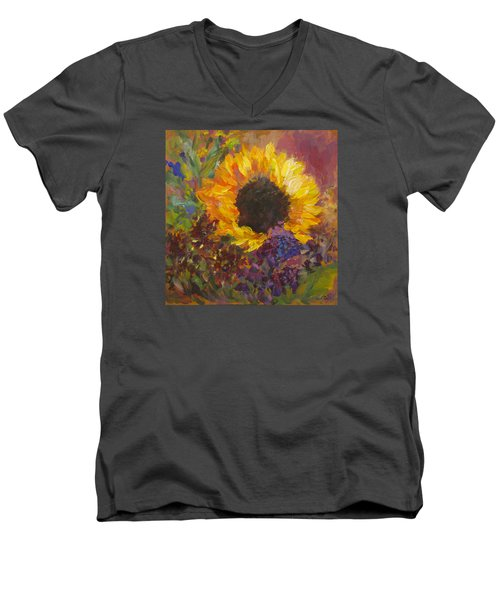 Sunflower Dance Original Painting Impressionist Men's V-Neck T-Shirt by Quin Sweetman