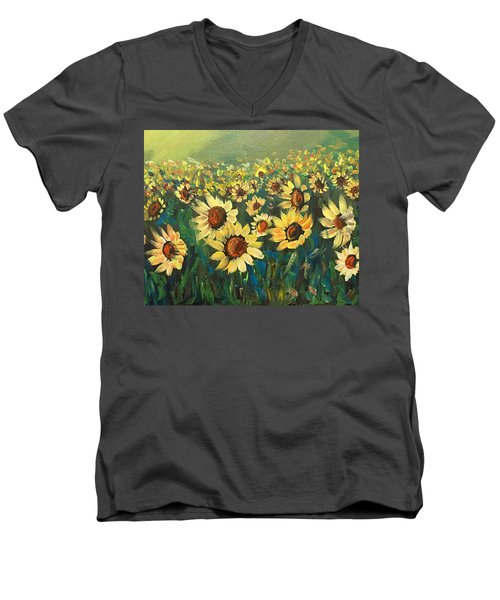 Men's V-Neck T-Shirt featuring the painting Sunflower Field by Dorothy Maier