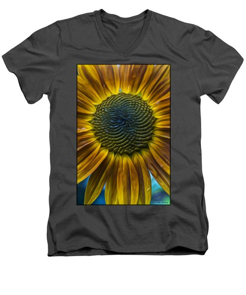Sunflower In Rain Men's V-Neck T-Shirt