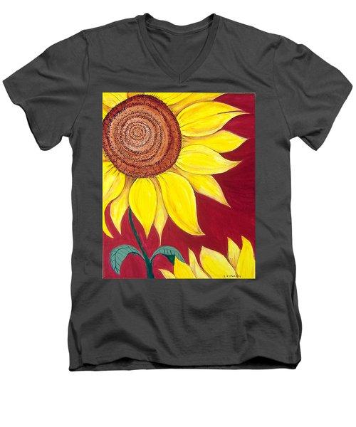 Sunflower On Red Men's V-Neck T-Shirt