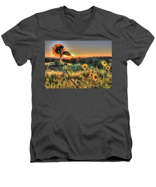 Sunflower Sunrise 1 Men's V-Neck T-Shirt by Diane Alexander