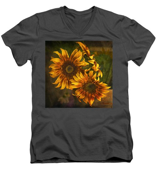 Men's V-Neck T-Shirt featuring the photograph Sunflower Trio by Priscilla Burgers
