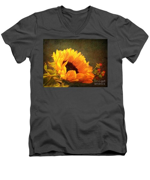 Sunflower - You Are My Sunshine Men's V-Neck T-Shirt by Lianne Schneider